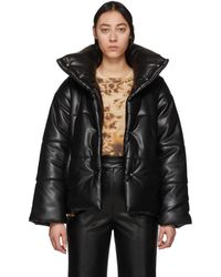 Nanushka Black Vegan Leather Puffer Jacket