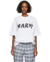 Marni ホワイト Lettering ロゴ T シャツ