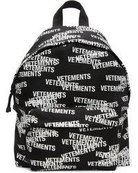 Vetements ブラック & ホワイト ロゴ バックパック