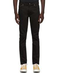 Nudie Jeans ブラック Dry Lean Dean ジーンズ