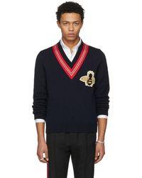 Gucci - Pull en laine avec abeille appliquée - Lyst