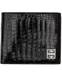 Givenchy ブラック クロコ バイフォールド ウォレット