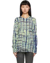Proenza Schouler Green And Blue Tie-dye Long Sleeve T-shirt