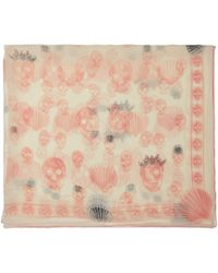 Alexander McQueen - Off-white And Pink Silk Scalloped Skull Scarf - Lyst