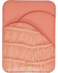 Chloé ピンク クロコ Walden カード ケース