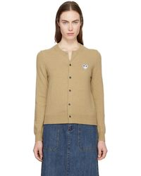 Play Comme des Garçons - Tan And Black Heart Patch Cardigan - Lyst