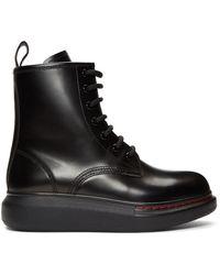 Alexander McQueen Black Hybrid Combat Boots