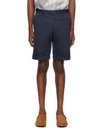 Brioni Navy Twill Bermuda Shorts - Blue