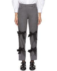 Simone Rocha - Grey Cropped Bows Trousers - Lyst