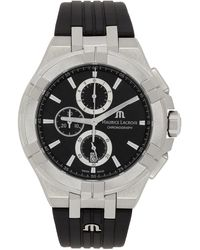 Maurice Lacroix ブラック & シルバー Aikon クロノグラフ 腕時計 - メタリック