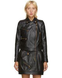 Versace ブラック レザー Medusa ジャケット
