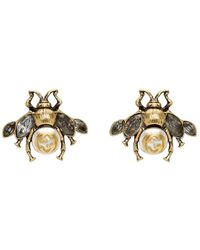 Gucci Gold Bee Motif Earrings - Metallic