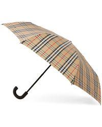 Burberry Beige Vintage Check Trafalger Umbrella - Natural