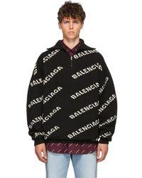 Balenciaga Black And White All Over Logo Zip Turtleneck