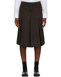 Maison Margiela Brown Wool Check Contrast Stitch Skort