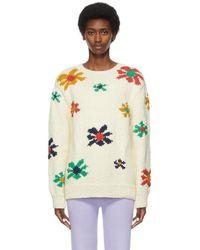 The Elder Statesman Off-white Organic Cotton Floral Jumper