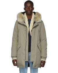 Army by Yves Salomon Beige Down And Fur Puff Parka - Natural
