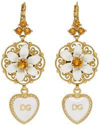 Dolce & Gabbana - Gold And White Heart Flower Earrings - Lyst