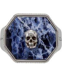Alexander McQueen Bague chevaliere Skull argentee et bleue en sodalite - Métallisé