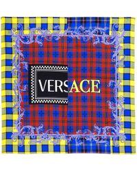 Versace - Logo Printed Silk Twill Scarf - Lyst