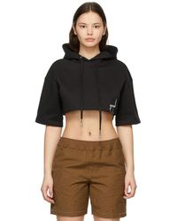 ADER error Black Cropped Short Sleeve Hoodie
