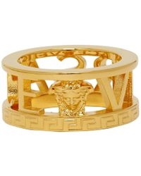 Versace - Gold Cut-out Logo Ring - Lyst