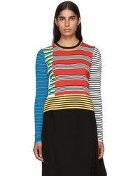 Enfold - Red Multi Border Stripe Rib Sweater - Lyst