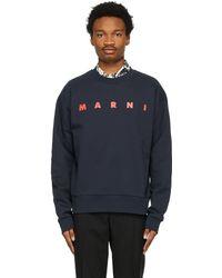 Marni - ネイビー ロゴ スウェットシャツ - Lyst