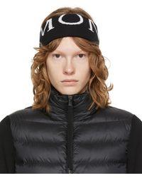Moncler & White Wool Logo Ski Headband - Black