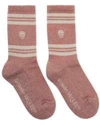 Alexander McQueen Pink Metallic Skull Stripe Socks