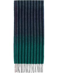 Paul Smith Navy And Multicolour Wool Sunset Stripes Scarf - Blue