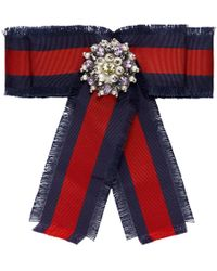 Gucci - Red And Navy Grosgrain Stripe Bow Brooch - Lyst