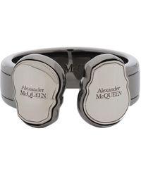 Alexander McQueen - ガンメタル Twin Skull Tag リング - Lyst