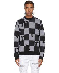 Amiri ブラック & ホワイト チェック ロゴ セーター
