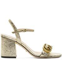 Gucci Gold GG Marmont Heeled Sandals - Metallic