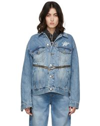 we11done Wd Logo Zipper Detail Denim Jacket - Blue