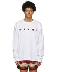 Marni ホワイト ロゴ ロング スリーブ T シャツ