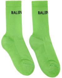 Balenciaga グリーン ロゴ テニス ソックス