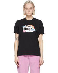 MSGM ブラック Rainbow ロゴ T シャツ