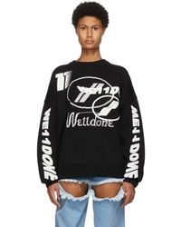 we11done - ブラック ウール ジャカード ロゴ セーター - Lyst