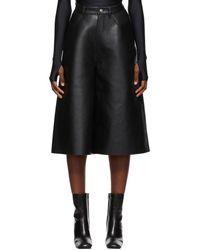 Balenciaga Leather Cropped Trousers - Black