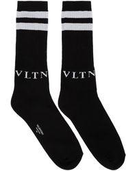 Valentino Black And Gray Garavani Vltn Socks