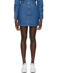 Calvin Klein ブルー デニム ハイライズ ミニスカート