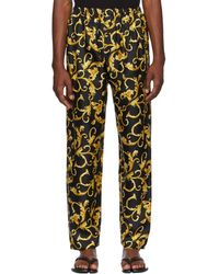 Versace - Black And Gold Printed Pyjama Trousers - Lyst