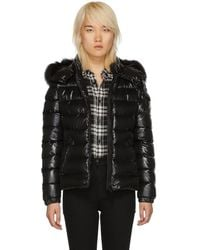 Moncler - Black Down And Fur Bady Jacket - Lyst
