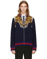 Gucci Navy Tiger Zip-up Jumper - Blue