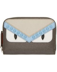 Fendi - Multicolor Bag Bugs Elite Mini Zip Around Wallet - Lyst