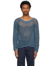 Nicholas Daley Blue Knit Garment-dyed Jumper