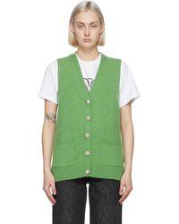 Ganni Green Cashmere Knit Vest