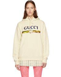 Gucci - オフホワイト シークイン ロゴ フーディ - Lyst